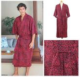 Red and Black Cotton Robe for Men, 'Blaze'