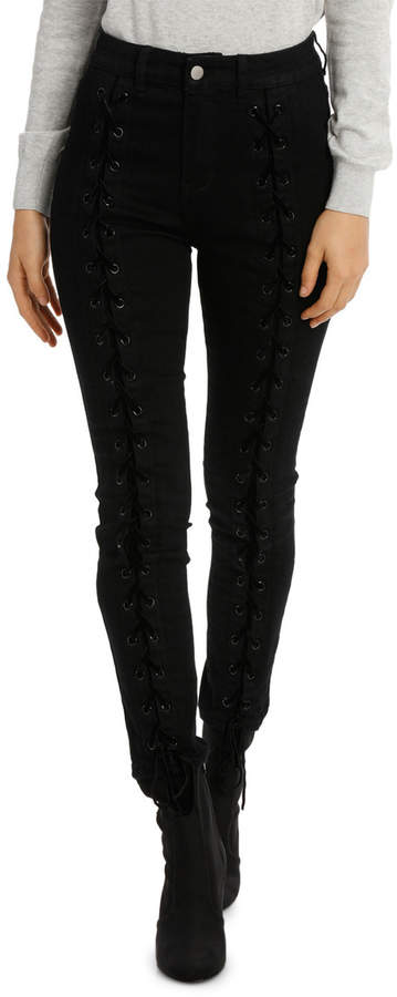 Miss Shop Rita Mid Rise Skinny Jean - Lace Up