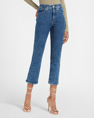 Express High Waisted Dark Wash Cropped Flare Jeans