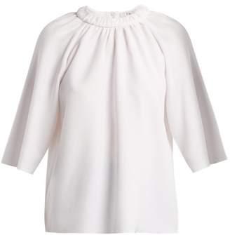 Tibi Mica Crepe Shirred-neck Top - Womens - White