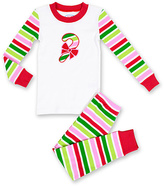 Sara's Prints White & Green Stripe Candy Cane Pajama Set - Infant