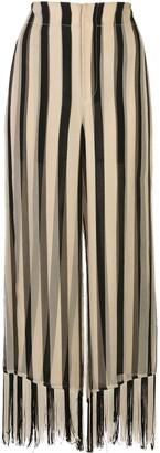 Monse Fringe-Trim Striped Trousers