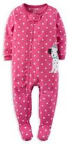 Carter's Zip-Front Polka Dot Dalmatian Fleece Footed Pajama in Pink