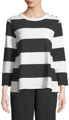 Joan Vass Striped Pullover Top
