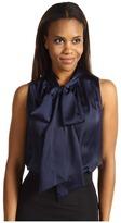 Jones New York Solid Matte Satin Sleeveless Bow Blouse (Twilight) - Apparel