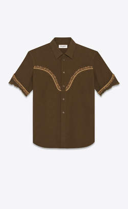 Saint Laurent Western Shirts Western-style Shirt In Vintage Cotton With Flower Embroidery Khaki 14