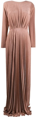 Elisabetta Franchi Pleated Metallic Evening Dress