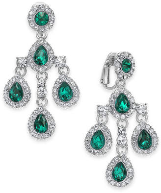 Charter Club Crystal Teardrop Chandelier Clip-On Earrings