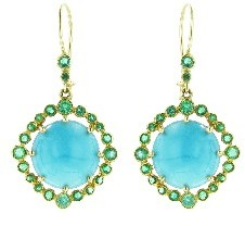 Andrea Fohrman Cabochon Turquoise Earrings with Emeralds - Yellow Gold