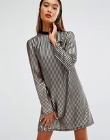 House of Holland Chainmail Style Metallic Long Sleeved Shift Dress