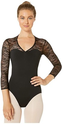 Bloch V Front 3/4 Sleeve Leotard (Black) Women's Jumpsuit & Rompers One Piece