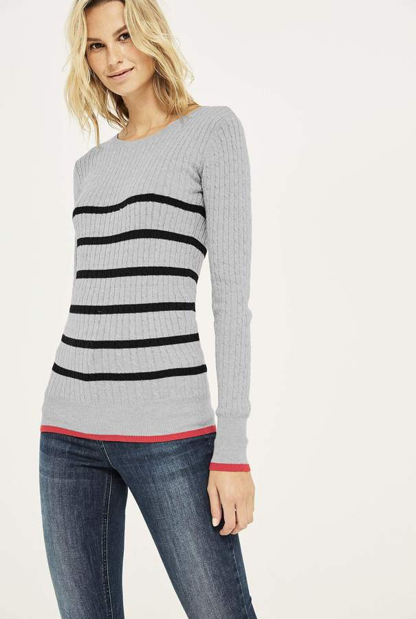 f827c0194d8 Long Tall Sally Cable Crew Neck Stripe Sweater