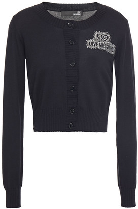 Love Moschino Cropped Crystal-embellished Cotton And Modal-blend Cardigan