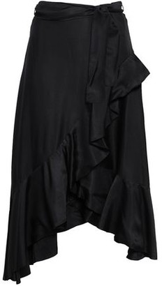 Zimmermann Rife Flounce Asymmetric Belted Polka-dot Twill Skirt