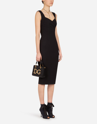 Dolce & Gabbana Jersey Calf-Length Dress With Sweetheart Neckline
