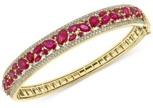 Effy Certified Ruby (7-1/6 ct. t.w.) & Diamond (1-1/6 ct. t.w.) Bangle Bracelet in 14k Gold