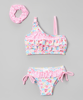 Sweet & Soft Pink Flowers Bikini & Scrunchie - Infant & Toddler