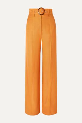 De La Vali Lily Belted Woven Wide-leg Pants - Orange