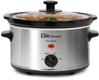 Elite Kitchen Gourmet MST-275XS 2-Qt. Oval Slow Cooker - Stainless Steel