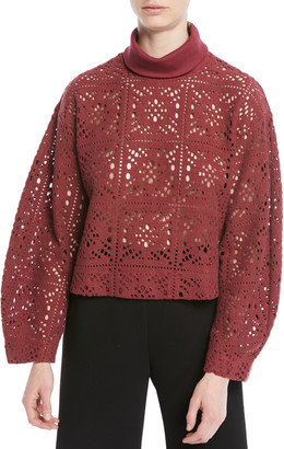 See by Chloe Turtleneck Long-Sleeve Cutout Sweater