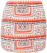 Pia Pauro Sequin Embroidered Curve Mini Skirt