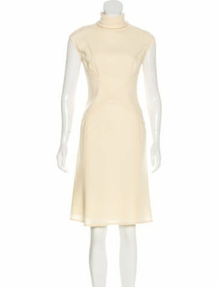 Valentino Virgin Wool Turtleneck Dress Beige