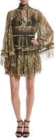 Roberto Cavalli Tiered Lace Bell-Sleeve Mini Dress, Gold