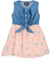 Dollhouse Blue & Pink Floral Sleeveless Dress - Infant, Toddler & Girls