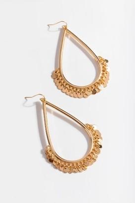 francesca's Ava Coin Fringe Teardrop Earrings - Gold