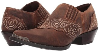 Durango Crush Embroidered Shoe Boot (Distressed Tan) Women's Boots