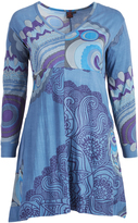 Aller Simplement Blue & Gray Geometric Empire-Waist Dress - Plus Too