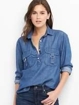 TENCEL buckle popover shirt