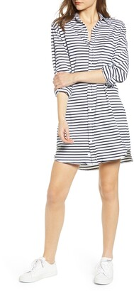 Frank And Eileen Stripe Relaxed Cotton Jersey Shirtdress
