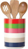 Kate Spade all in good taste Striped Utensil Crock and Wooden Utensils
