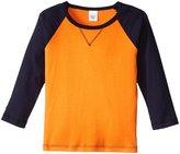 City Threads V-Stitch Raglan Tee (Toddler/Kid) - Orange/Navy - 3T