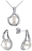 Allura 9-9.5 MM White Freshwater Cultured Pearl and Diamond Earrings and Necklace Set in Sterling Silver