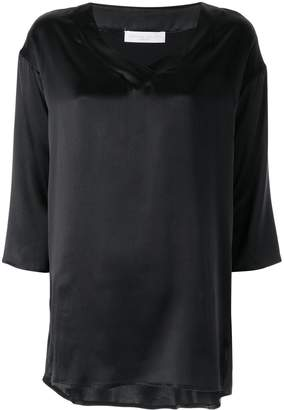 Fabiana Filippi cropped sleeve v-neck top