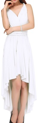 IMEKIS Women Sleeveless V Neck Multiway Convertible Dress Elegant Bridesmaid Cocktail Evening Ball Gown Solid Color Empire Waist High Low Bandage Party Dress Summer Casual Beach Wear White L