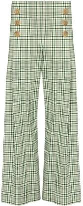 Rosie Assoulin Check-Pattern Wide-Leg Trousers