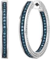 Sterling Silver 1 Carat T.W. Blue Diamond Inside Out Hoop Earrings