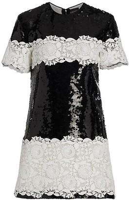 Giambattista Valli Sequin & Lace Shift Dress
