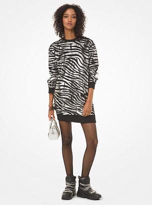 MICHAEL Michael Kors MK Zebra Sequined Sweater Dress - Black/silver - Michael Kors