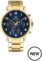 Tommy Hilfiger Tommy Hilfiger Daniel Blue And Gold Detail Chronograph Dial Gold Stainless Steel Bracelet Mens Watch