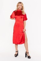 Nasty Gal Womens Feeling Fine Satin Midi Dress - Red - 6, Red