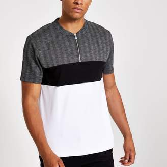 River Island Mens Grey check slim fit zip polo shirt