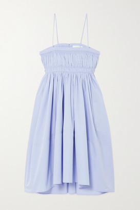 Chloé Shirred Cotton-poplin Dress - Sky blue