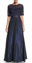 Rickie Freeman For Teri Jon Half-Sleeve Lace-Bodice Taffeta Gown