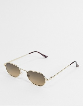 Jeepers Peepers narrow angular sunglasses in gold