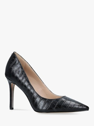Sam Edelman Hazel Leather Croc Stiletto Heel Court Shoes, Black