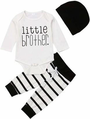Longfei Newborn Infant Baby Boy Little Brother Letter Print Long Sleeve Romper Tops Drawstring Pants Hat Set (White 0-3m)